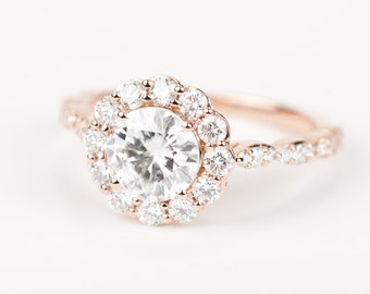 CERTIFIED - colorless Forever ONE Round Brilliant Moissanite & Diamond Flower Halo Engagement Ring 14K Rose Gold