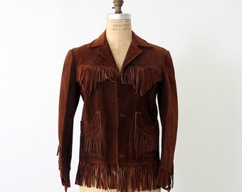SALE 1960s leather jacket with fringe