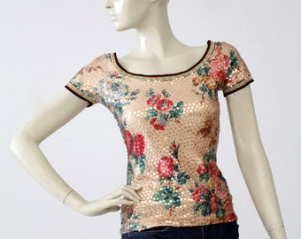 vintage Jean Paul Gaultier Maille sequin blouse, short sleeve floral top