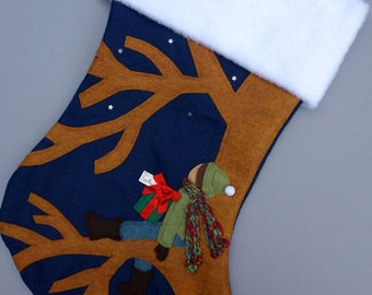 "Personalized Christmas Stocking--""Waiting for Santa"""