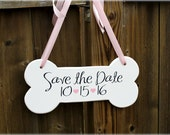"Dog Bone Wooden Sign - Save the date - Engagement Photos - Photo Prop 5"" x 12"" MADE TO ORDER"