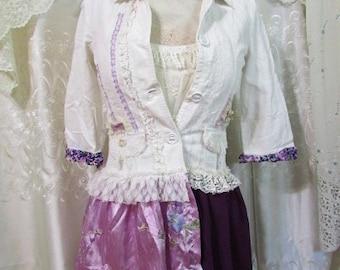 Shabby Corduroy Blazer Jacket Coat, creme and purple, altered clothing, refashioned clothing, cute pixie faerie jacket, Small Petite Junior