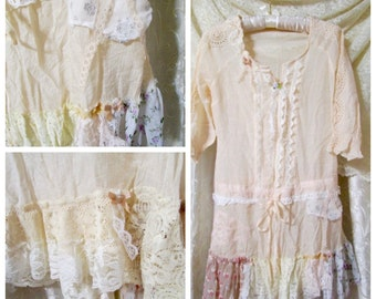 Victorian Shabby Lace Blouse, pink cream, romantic top, sheer delicate, altered lace top, light weight, X SMALL JR