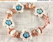 ON SALE White and Turquoise Magnesite Bracelet with Copper, Southwest Style Bracelet