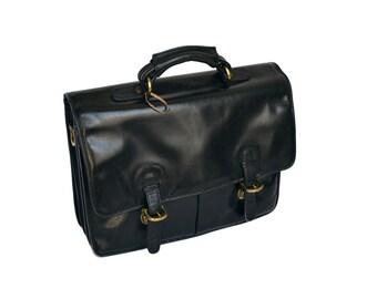Vintage Hidesign Leather Briefcase, Mens Black Leather Briefcase Laptop Bag