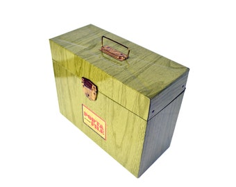 Vintage Porta File Box, File Storage Organization, Portable Metal Tin File Box
