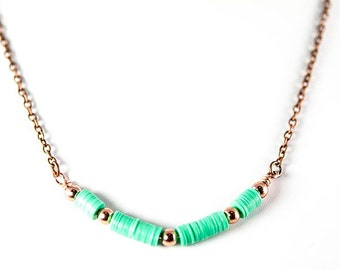 African vinyl and copper bead necklace
