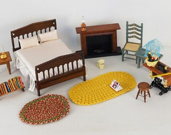 Vintage Doll Furniture Set Attic Bedroom 1 Inch Scale