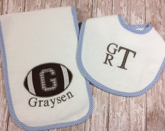 Personalized Football Bib & Burp Cloth Set in Pink, Blue or White Gingham Trim for Boy or Girl
