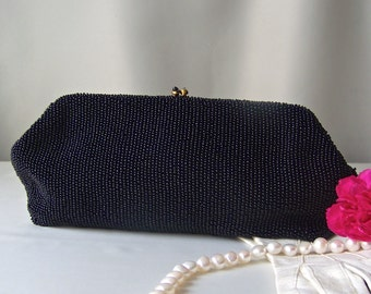 Vintage Black Beaded Evening Bag by Josef Glass Micro Seed Beads Midnight Blue Satin Lining 1930s