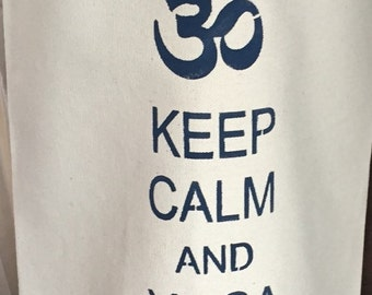 Keep Calm/Yoga Om Yoga Mat Tote - Navy
