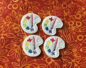 RESERVED For Melody.PAINT PALLET Felt Embellishments Art Pallet ~ Set Of 4,Ready To Ship,Available In Cut Or Uncut