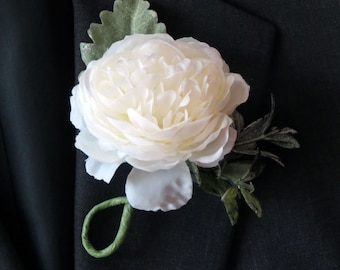 Ranunculus Boutonniere,  Made to Order, Rustic Boutonniere, Rustic Fern, Weddings Florals, Proms Flowers, Blush Wedding, Choose Your Color