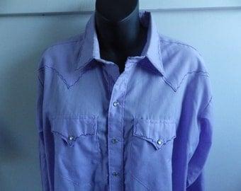 Vintage 1970s Lavender Pearl Snap Western Shirt Rockmount Ranchwear XXL