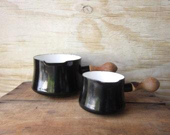 Vintage Enamel Saucepan Jens Quistgaard  Butter Warmer -Black Enamel Pot Kobenstyle