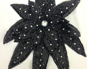 Large sequined flower applique with rhinestones