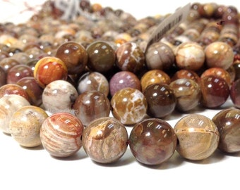 AA Grade 10 mm. High Quality Natural Petrified Wood Round Beads - Fossilized Wood Beads - Prayer Beads - No Dyed No Heat Treated (G3941NW50)