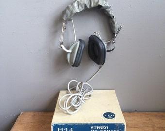 Vintage Mid Century General Electric Boxed H-14 Headphones Space Age! Atomic