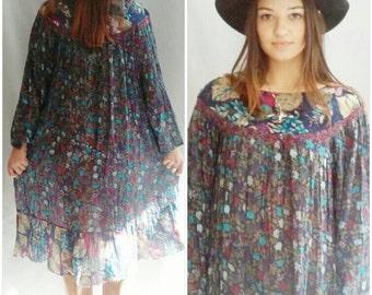 Indian Cotton Dress, India Dress,  Hippie Dress,  Hippy Dress,  Boho Dress,  Festival Dress  Dress S M L