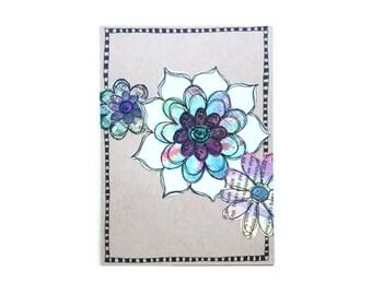 Handmade Blank Card - Paper Flower Garden series 1 - 5x7 (PFGL-0003)