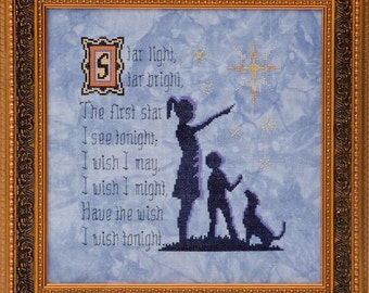 Star Light, Star Bright - Counted Cross Stitch Pattern - nursery rhyme cross stitch pattern - children cross stitch star needlework pattern