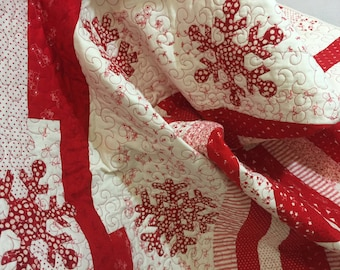 Nostalgic Christmas Quilt Blanket Throw Red and White with Snowflakes Quiltsy Handmade