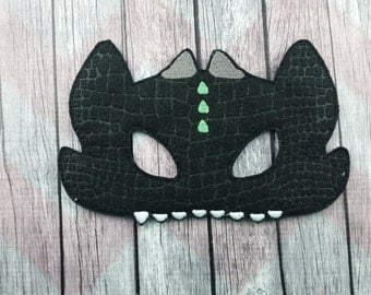 Dragon felt mask, magical creature mask, children's mask, toothless inspired