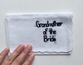Grandparent Wedding Keepsake Handkerchief Grandmother Wedding Gift Wedding Embroidery