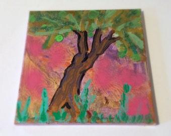 Colorful Original Acrylic Tree Painting, Glitter Painting, Children's Room Wall Art, Kid's Room Decor, 10 x 10 Artwork