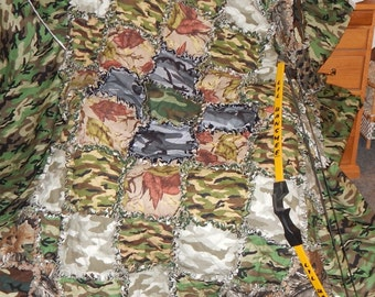handmade cotton flannel rag quilt camo brown camouflage Real Tree Michael Miller outdoor twin XL Ready to Ship hunter outdoorman prepper