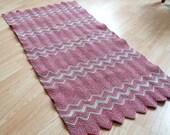 "handmade vintage crocheted cotton rug/ 48"" x 22"" zigzags"