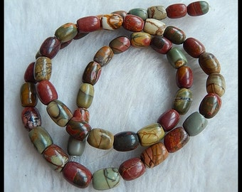 Multi-Color Picasso Jasper Loose Bead,1Strand,41cm In the Lenght,9x6mm,26.9g