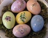 Vintage inspired Glazed Ceramic Easter Eggs (Set D1)