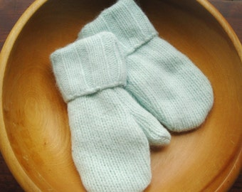 Kids Mint Fluff Mittens, Sweater Mittens, Lined, Upcycled, Angora Blend, Size 4-6