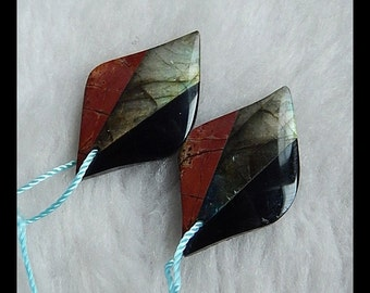 Labradorite,Obsidian,Multi Color Picasso Jasper Intarsia Gemstone Earring Bead,30x20x10mm,7.02g