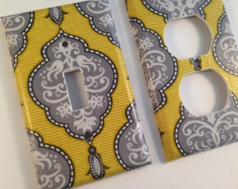 Yellow Damask Light Switch Cover / White Grey Yellow Damask / Yellow Gray  Bathroom Decor /