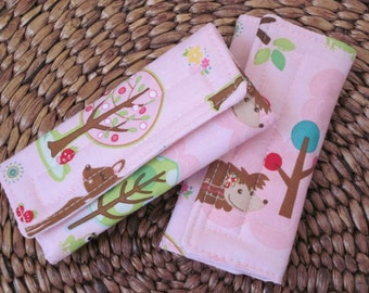 Reversible Car Seat Strap Covers//Stroller Strap Covers//Seat Belt Pad // Hoo's in the Forest Fabric with Minky