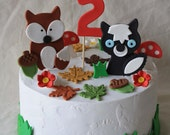 Woodland Forest Animals Birthday Party Fondant Cake Decorations Cake Toppers Baby Shower First Birthday