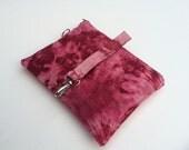 Shibori Waxed Canvas Bag w/ Detachable Handle // Tie-dyed Waxed Canvas // Vegan // Pink w/ Purple Zipper
