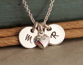 Hand Stamped Jewelry - Personalized Sterling Silver Necklace - Petite Flat Initial Tag Duet with Heart