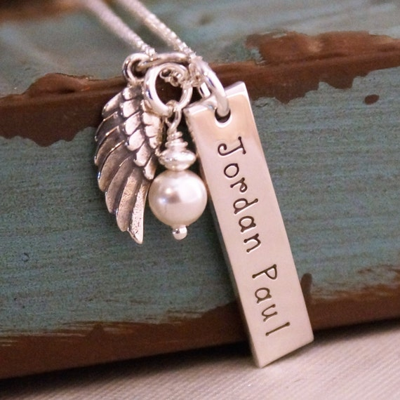 Hand Stamped Jewelry - Personalized Vertical Sterling Silver Name tag Necklace- Angel Wing Vertical Tag (Infant / Child Loss / Remembrance)