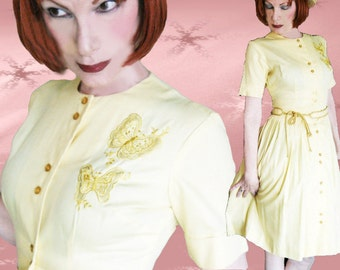 Vintage Full Skirt Dress - 60s Yellow Cupcake Style Shirtwaist - MINT 1960s