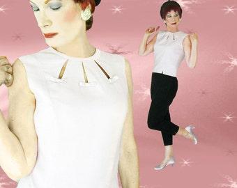 1950s Pink Top - Vintage Linen Blouse - 50s Sleeveless Summer Shell