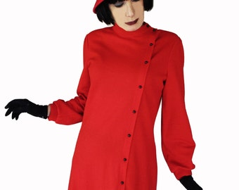 Red Vintage Dress - 70s Midi Dress - Valentines Dress - Butte Knit