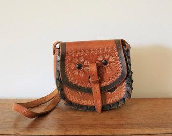 Vintage boho tan leather tooled messenger satchel bag