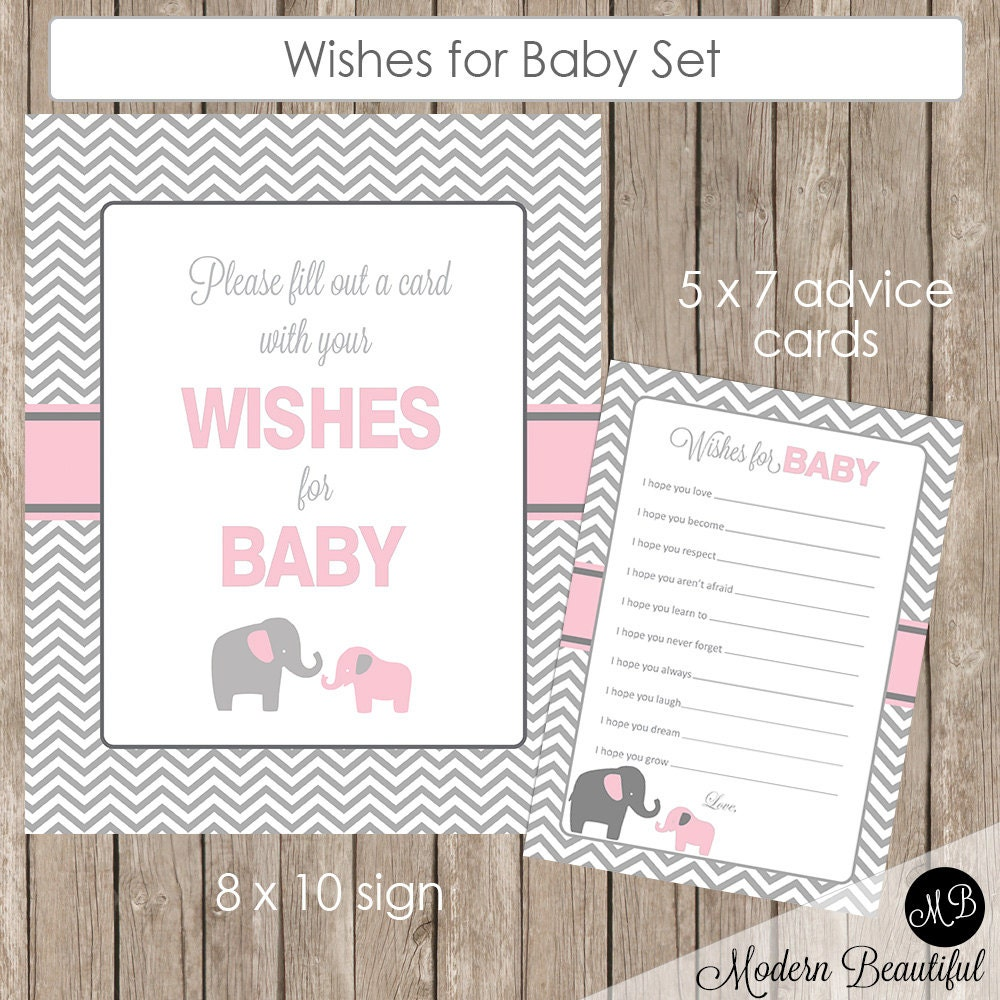 baby shower wishes for baby card and sign in pink elephant