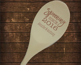 """Personalized 12"""" Wood Spoon, Spooning Since Engraved Fifth anniversary spoon Laser Engraved Couple Gift, Valentine's anniversary SP0105"""