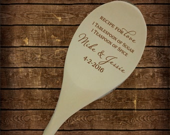 Recipe for Love Wooden Spoon, Wedding Shower, Bridal Shower, Kitchen Shower, Wedding Spoon Gift, Wedding Shower Wood SP0106