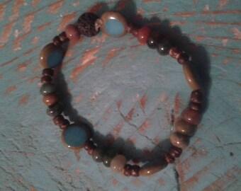 Aromatherapy bracelet/earthy blue