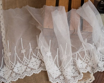 "5 yard 25cm 9.84"" wide ivory mesh tulle gauze fabric embroidered tapes lace trim ribbon 157 free ship"